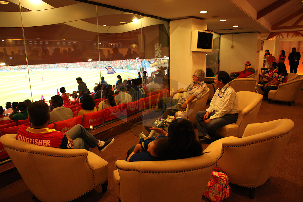 Corporate box, branding, gv during match 16 of the Pepsi IPL 2015 (Indian Premier League) between The Royal Challengers Bangalore and The Mumbai Indians held at the M. Chinnaswamy Stadium in Bengaluru, India on the 19th April 2015.<br /> <br /> Photo by:  Saikat Das / SPORTZPICS / IPL