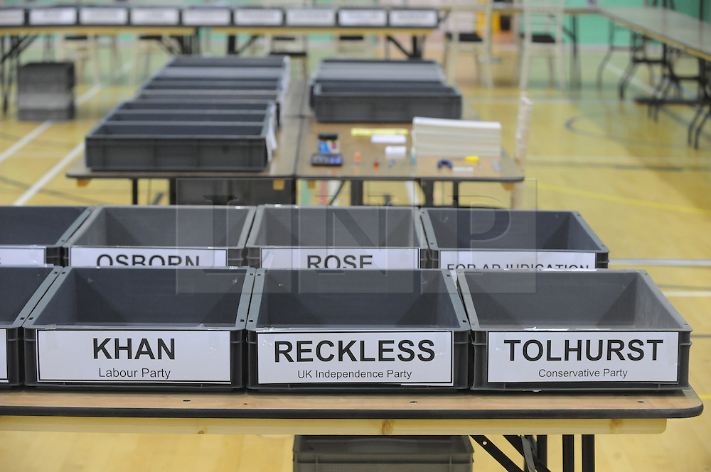 © Licensed to London News Pictures. 20/11/2014<br /> The count hall for tonight by-election at Medway Park,Gillingham is ready.<br /> Rochester and Strood Parliamentary By-Election polling day, today (20.11.2014) in Kent.<br /> <br /> (Byline:Grant Falvey/LNP)