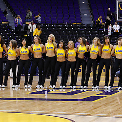November 30, 2010; Baton Rouge, LA, USA; The LSU Tiger girls dance squad sings following a game between the Houston Cougars and the LSU Tigers at the Pete Maravich Assembly Center. LSU defeated Houston 73-57. Mandatory Credit: Derick E. Hingle