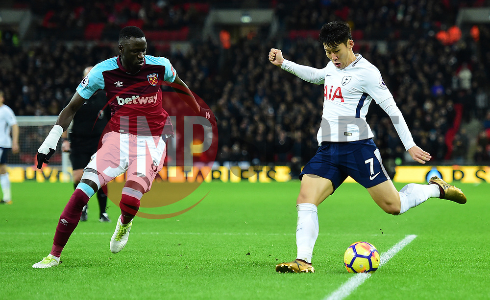 Son Heung-Min of Tottenham Hotspur attacks inside the West Ham box under pressure from Cheikhou Kouyate of West Ham United  - Mandatory by-line: Alex James/JMP - 04/01/2018 - FOOTBALL - Wembley Stadium - London, England - Tottenham Hotspur v West Ham United - Premier League