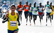Marilson Gomes dos Santos, of Brazil, runs in the 2006 New York City Marathon in first place on Sunday 05 November 2006<br />