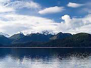 View of Lake Manapouri and the surrounding mountains on the Real Journey's cruise; 22 Sept 2012
