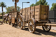 "20 Mule Team Wagon Train (1885) used in hauling 24 tons of borax from Death Valley to Mojave, 165 miles in 10 days. See historical mining and transportation equipment at the Borax Museum at Furnace Creek Ranch, in Death Valley National Park, California, USA. The oldest house in Death Valley was built in 1883 by F.M. ""Borax"" Smith in Twenty Mule Team Canyon, then moved here by his Pacific Coast Borax Company in 1954 to serve as a museum."