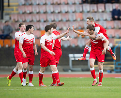 Brora Rangers Martin McLean celebrates after scoring their goal with Brora Rangers Alexander Sutherland on top.<br /> Edinburgh City 1 v 1 Brora Rangers, 1st leg, Pyramid Playoffs at Meadowbank, 25/4/2015.