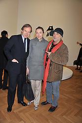 Left to right, SIMON DE PURY, MICHAELA NEUMEISTER and RON ARAD at a Private View of 'Calder - After The War' at Pace London, Burlington Gardens, London on 18th April 2013.