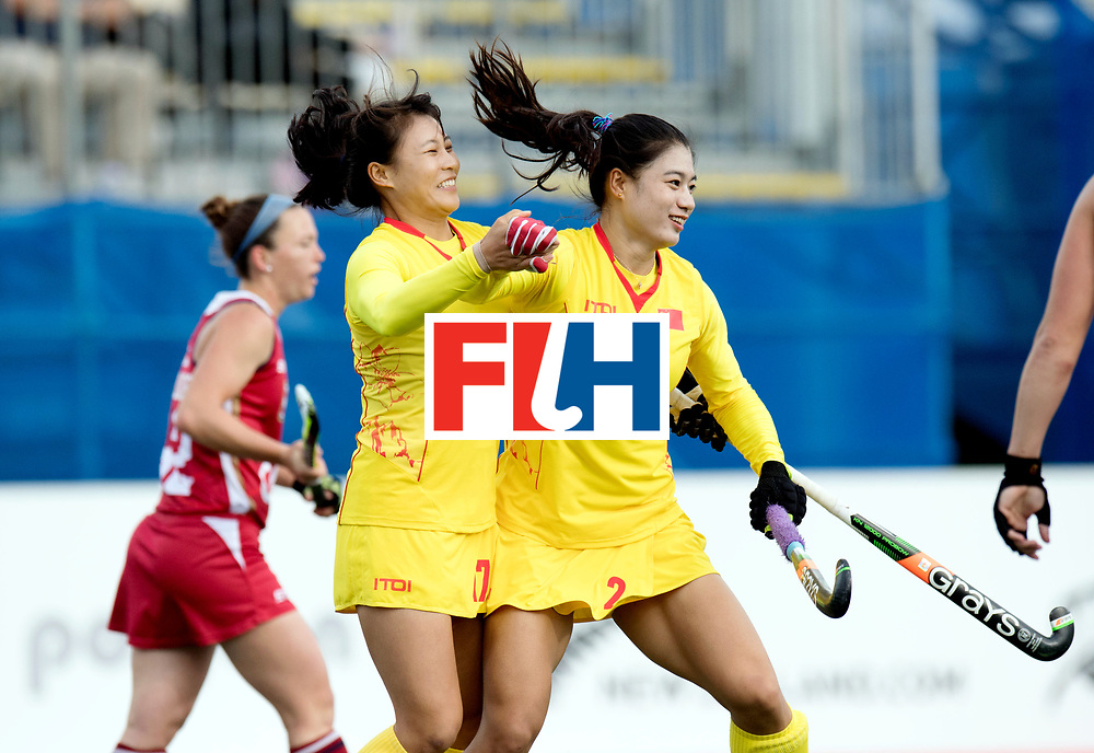 AUCKLAND - Sentinel Hockey World League final women<br /> Match id: 10309<br /> 19 USA v CHN (Losing Q/Finalists Match)<br /> Foto: Jing Yong and Bingfeng Gu celebrating goals<br /> WORLDSPORTPICS COPYRIGHT FRANK UIJLENBROEK