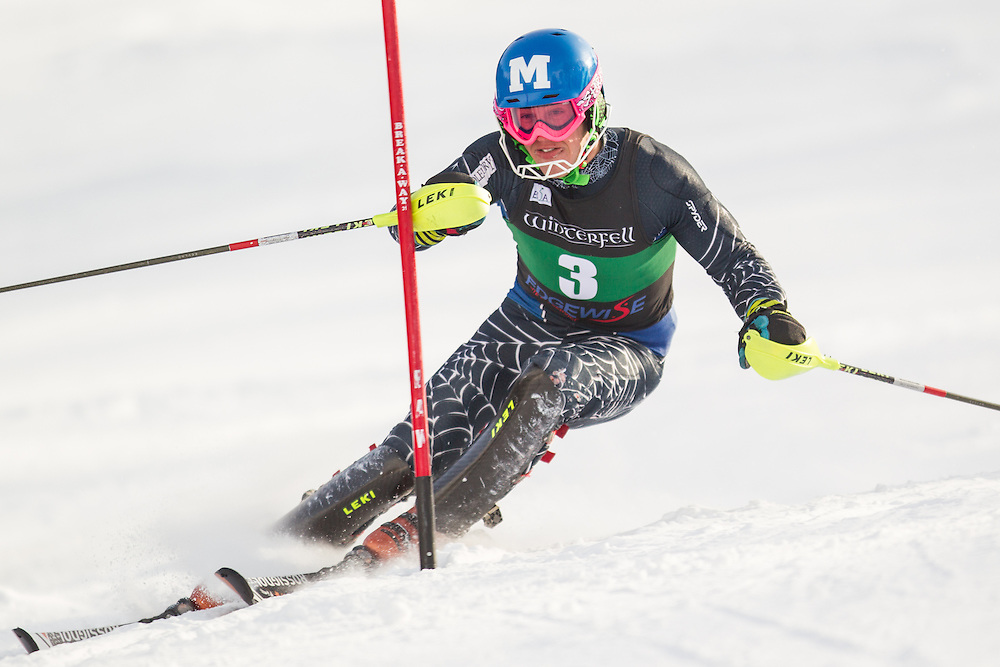 Hig Roberts of Middlebury College, skis during the second  run of the men's slalom at the University of Vermont Carnival at Burke Mountain on January 26, 2014 in East Burke, VT. (Dustin Satloff/EISA)