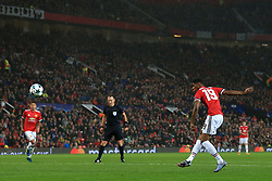 12th September 2017 - UEFA Champions League - Group A - Manchester United v FC Basel - Marcus Rashford of Man Utd scores their 3rd goal - Photo: Simon Stacpoole / Offside.