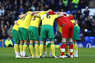 Picture by Paul Chesterton/Focus Images Ltd.  07904 640267.17/12/11.The Norwich team in the huddle before the Barclays Premier League match at Goodison Park Stadium, Liverpool.