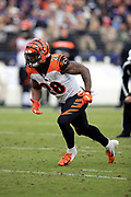 Cincinnati Bengals running back Joe Mixon (28) takes a handoff and runs for a third quarter first down on a third down play during the NFL week 11 regular season football game against the Baltimore Ravens on Sunday, Nov. 18, 2018 in Baltimore. The Ravens won the game 24-21. (©Paul Anthony Spinelli)