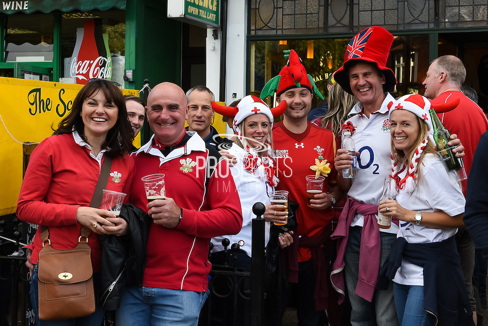 England and Wales fans mixing together with a few beers before the Rugby World Cup Pool A match between England and Wales at Twickenham, Richmond, United Kingdom on 26 September 2015. Photo by David Charbit.