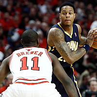CHICAGO, IL - APR 18: Brandon Rush #25 of the Indiana Pacers looks to pass the ball during game 2 of the Eastern Conference First Round at the United Center on April 18, 2011 in Chicago, IL. NOTE TO USER: User expressly acknowledges and agrees that, by downloading and or using this photograph, User is consenting to the terms and conditions of the Getty Images License Agreement. Mandatory Credit: 2011 NBAE (Photo by Chris Elise/NBAE via Getty Images)