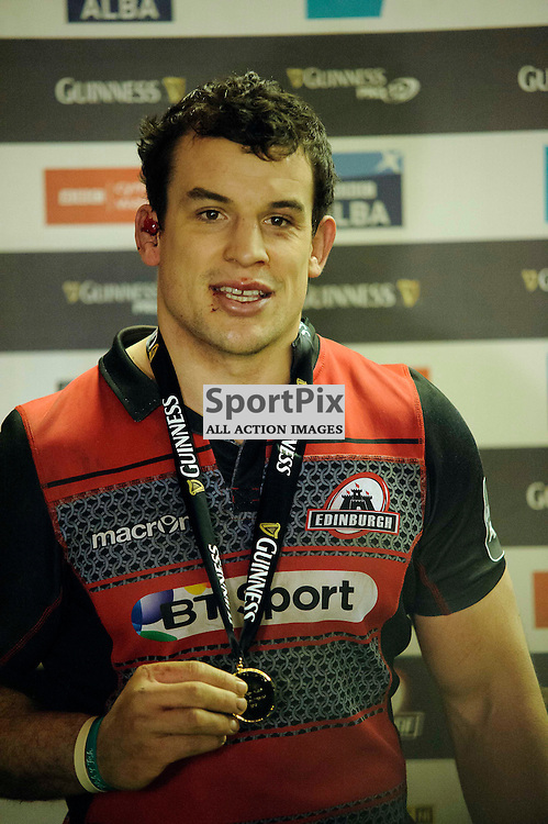 27/12/2015, Murrayfield, Scotland, Man of the Match John HARDIE during the Edinburgh Rugby v Glasgow Warriors Guinness PRO12 & 1872 Cup game, ......(c) COLIN LUNN | SportPix.org.uk