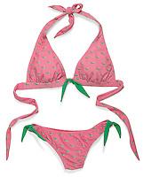 Pink and green bikini on white background