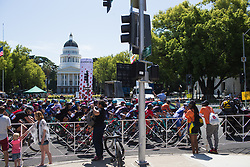 The peloton rolls by the California State Capitol Museum on Stage 3 of the Amgen Tour of California - a 70 km road race, starting and finishing in Sacramento on May 19, 2018, in California, United States. (Photo by Balint Hamvas/Velofocus.com)