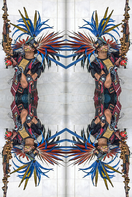 Mirrored scaled four images of Naz Cruz, Danza Mexikah dancer, after ceremonial dance on the Day of the Dead on the rotunda in the National Museum of the American Indians.<br />