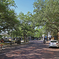 Park Avenue stores and boutiques remain closed due to the non-essential business order placed by the Orange County Government on Saturday, March 28, 2020 in Winter Park, Florida. (Alex Menendez via AP)