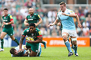 Manusamoa Tuilagi of Leicester Tigers (second left) is tackled during the Aviva Premiership match at Welford Road, Leicester<br /> Picture by Andy Kearns/Focus Images Ltd 0781 864 4264<br /> 06/09/2014