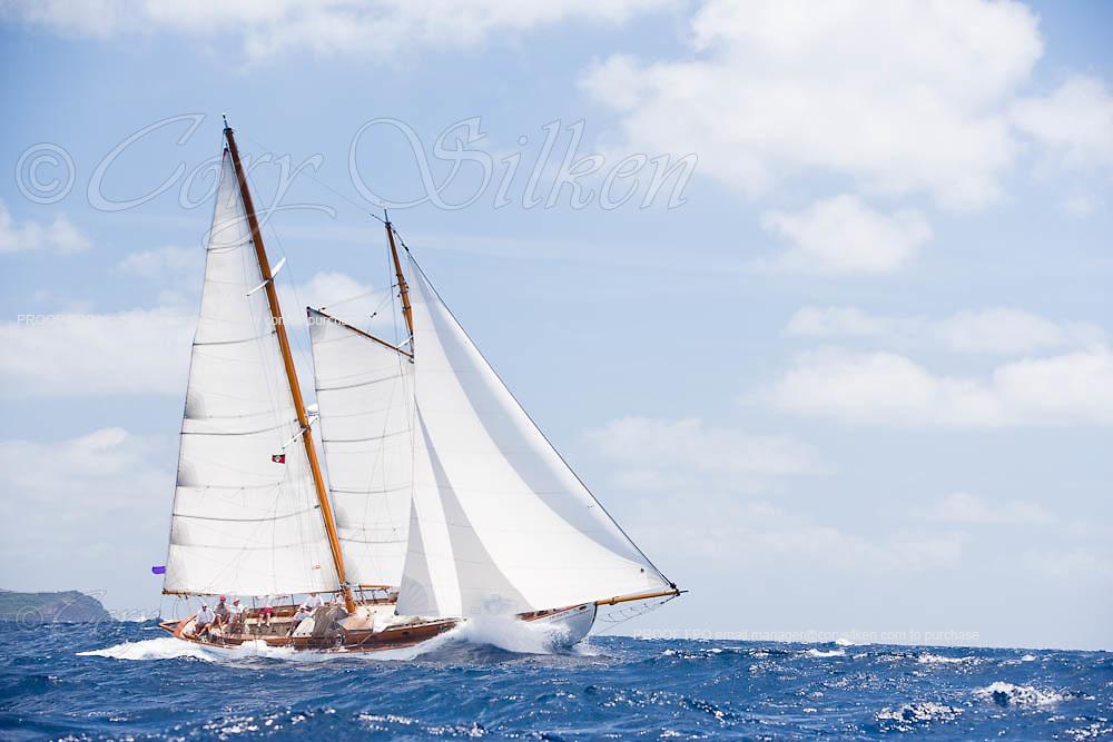 Heron sailing in the 2010 Antigua Classic Yacht Regatta, Windward Race, day 4.
