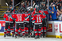 KELOWNA, CANADA - OCTOBER 27: The Kelowna Rockets celebrate the overtime win against the Tri-City Americans on October 27, 2017 at Prospera Place in Kelowna, British Columbia, Canada.  (Photo by Marissa Baecker/Shoot the Breeze)  *** Local Caption ***