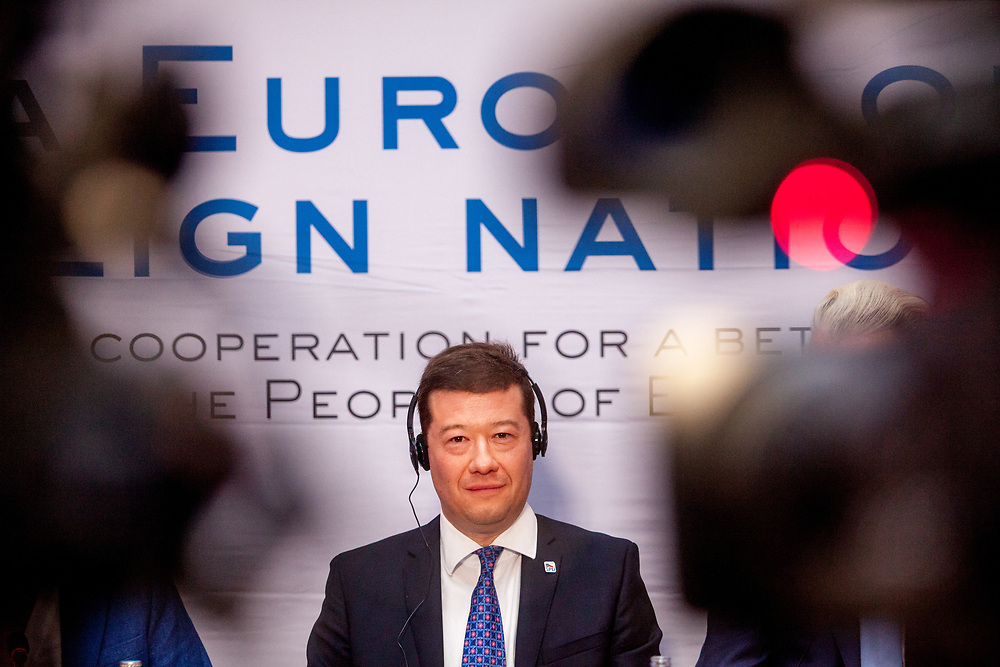 """Tomio Okamura speaking during the press conference of the European anti-migrant parties """"Europe of Nations and Freedom"""" (ENF) in Prague. Attending were Marie Le Pen from France, Geert Wilders from Holland and Tomio Okamura of the Freedom and Direct Democracy (SPD) movement from Czech Republic which was hosting the meeting. Prague, 16.12.2017"""
