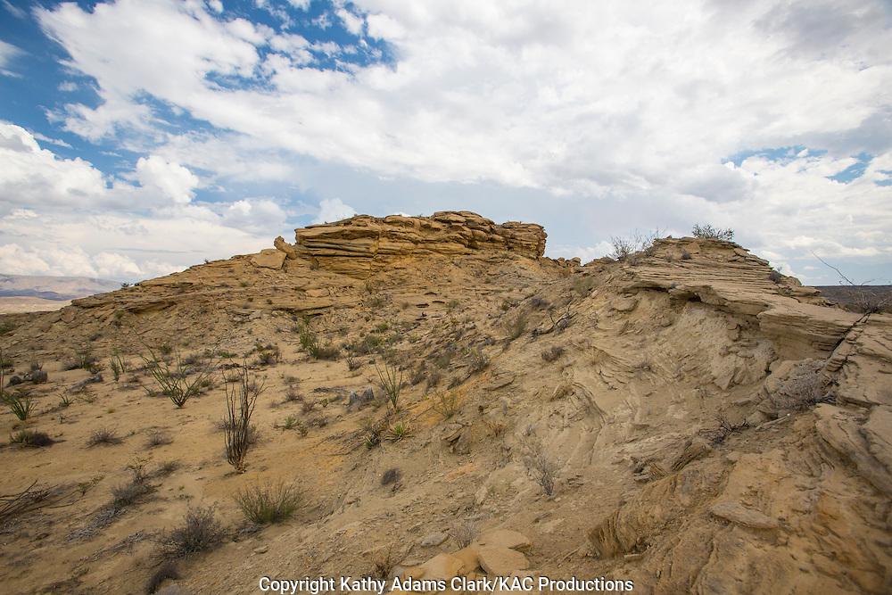 Cloudy skies and hoodoo rock formation at Big Bend National Park, Texas.