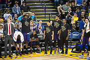 The Charlotte Hornets bench reacts to their first half performance against the Golden State Warriors at Oracle Arena in Oakland, Calif., on February 1, 2017. (Stan Olszewski/Special to S.F. Examiner)