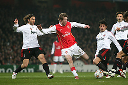 LONDON, ENGLAND - Wednesday, February 20, 2008 : Arsenal's Alexander Hleb tries to break through the AC Milan defence during the UEFA Champions 1st Knockout Round, 1st Leg match at The Emirates Stadium. (Photo by Chris Ratcliffe/Propaganda)