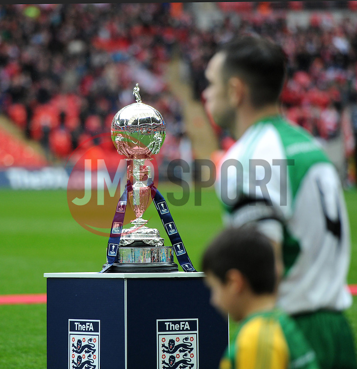 FA Trophy sits pitch-side at Wembley as players walk out - Photo mandatory by-line: Paul Knight/JMP - Mobile: 07966 386802 - 29/03/2015 - SPORT - Football - London - Wembley Stadium - North Ferriby United v Wrexham - FA Trophy