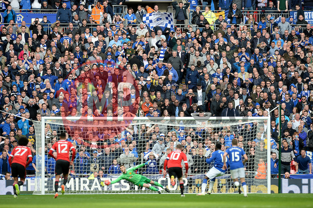 Everton fans watch as David De Gea of Manchester United saves Romelu Lukaku of Everton penalty. - Mandatory by-line: Alex James/JMP - 23/04/2016 - FOOTBALL - Wembley Stadium - London, England - Everton v Manchester United - The Emirates FA Cup Semi-Final