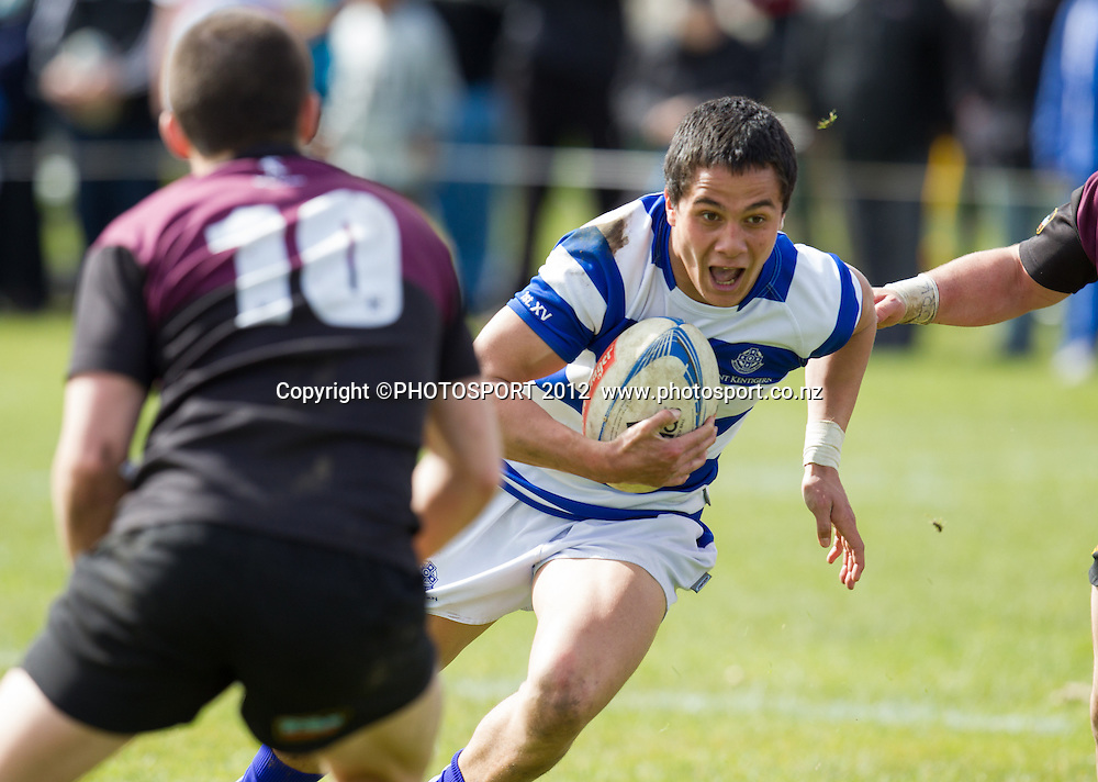 St Kentigern's Sam Nock heads in to score a try during the College 1st XV Rugby Semi Final - St Kent's v Hamilton BHS won by St Kent's 29-13, at Rotorua Boys High School, Rotorua, New Zealand, Saturday 8 September 2012.  Photo: Stephen Barker/Photosport.co.nz