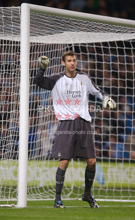 Manchester, England - Wednesday, March 14, 2007: Manchester City's goalkeeper Andreas Isaksson in action against Chelsea during the Premiership match at the City of Manchester Stadium. (Pic by David Rawcliffe/Propaganda)