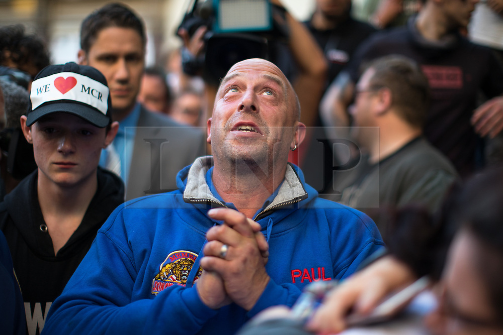 © Licensed to London News Pictures . 25/05/2017 . Manchester , UK . Father of of bombing victim Olivia Campbell , PAUL HODGSON attends a scooter-led rally to lay flowers at St Ann's Square in Central Manchester , following a terrorist attack at an Ariana Grande concert at Manchester Arena that killed twenty two people . Photo credit : Joel Goodman/LNP