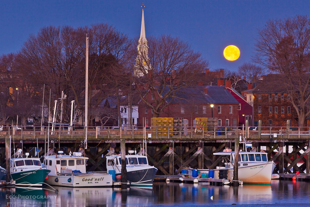 The full moon over Portsmouth, New Hampshire.