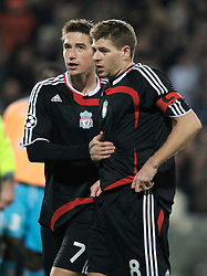 MARSEILLE, FRANCE - Tuesday, December 11, 2007: Liverpool's captain Steven Gerrard MBE and Harry Kewell during the final UEFA Champions League Group A match against Olympique de Marseille at the Stade Velodrome. (Photo by David Rawcliffe/Propaganda)