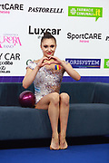 Ana Luiza Filiorianuon on Kiss and Cry at World Cup of Pesaro 2018. Ana  was born in July 10, 1999 in Bucharest. She is a very good Romanian individual rhythmic gymnast.