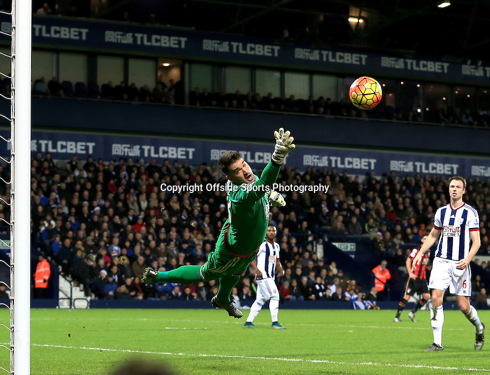 19th December 2015 - Barclays Premier League - West Bromwich Albion v AFC Bournemouth - Boaz Myhill of West Bromwich Albion dives as a shot creeps just wide - Photo: Paul Roberts / Offside.