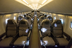 Cabin interior of British Airways Concorde on display in hanger at National Museum of Flight at East Fortune Airfield in East Lothian, Scotland, United Kingdom