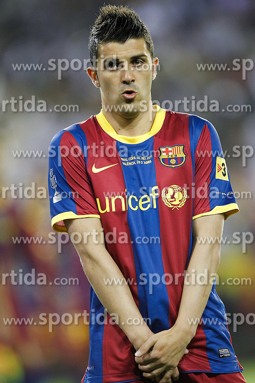 20.04.2011, Estadio Mestalla, ESP, La Liga, ESP, Copa del Rey, Finale, FC Barcelona vs Real Madrid, im Bild FC Barcelona's David Villa during la Spain King's Cup Final match in Valencia, Spain on April 20th 2011, EXPA Pictures © 2010, PhotoCredit: EXPA/ Alterphotos/ ALFAQUI/ Cesar Cebolla