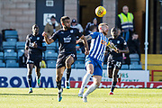 6th October 2018, Dens Park, Dundee, Scotland; Ladbrokes Premiership football, Dundee versus Kilmarnock; Adil Nabi of Dundee challenges for the ball with Alan Power of Kilmarnock