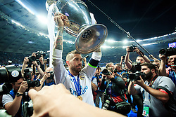 Sergio Ramos of Real Madrid celebrates after they won 3-1 during the UEFA Champions League final football match between Liverpool and Real Madrid and became Champions League  2018 Champions third time in a row at the Olympic Stadium in Kiev, Ukraine on May 26, 2018.Photo by Sandi Fiser / Sportida