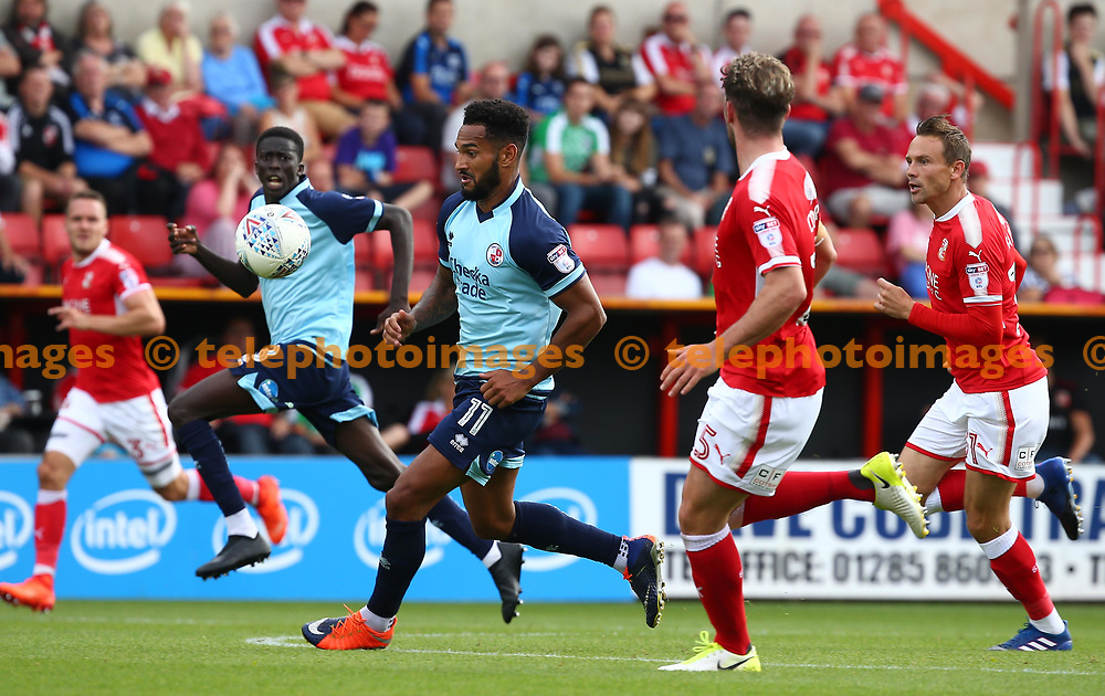 Jordan Roberts and Panutche Camara of Crawley break forward during the Sky Bet League 2 match between Swindon Town and Crawley Town at the County Ground in Swindon. 26 Aug 2017