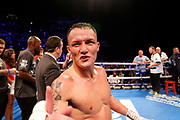 Josh Warrington celebrates winning the fight during the Josh Warrington Sofiane Takoucht IBF featherweight title fight at First Direct Arena, Leeds, United Kingdom on 12 October 2019.
