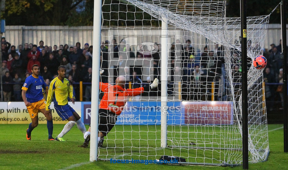 Picture by John Rainford/Focus Images Ltd +44 7506 538356<br /> 09/11/2013<br /> Colin Daniel of Mansfield Town scores during the The FA Cup match at Clarence Park, St. Albans.