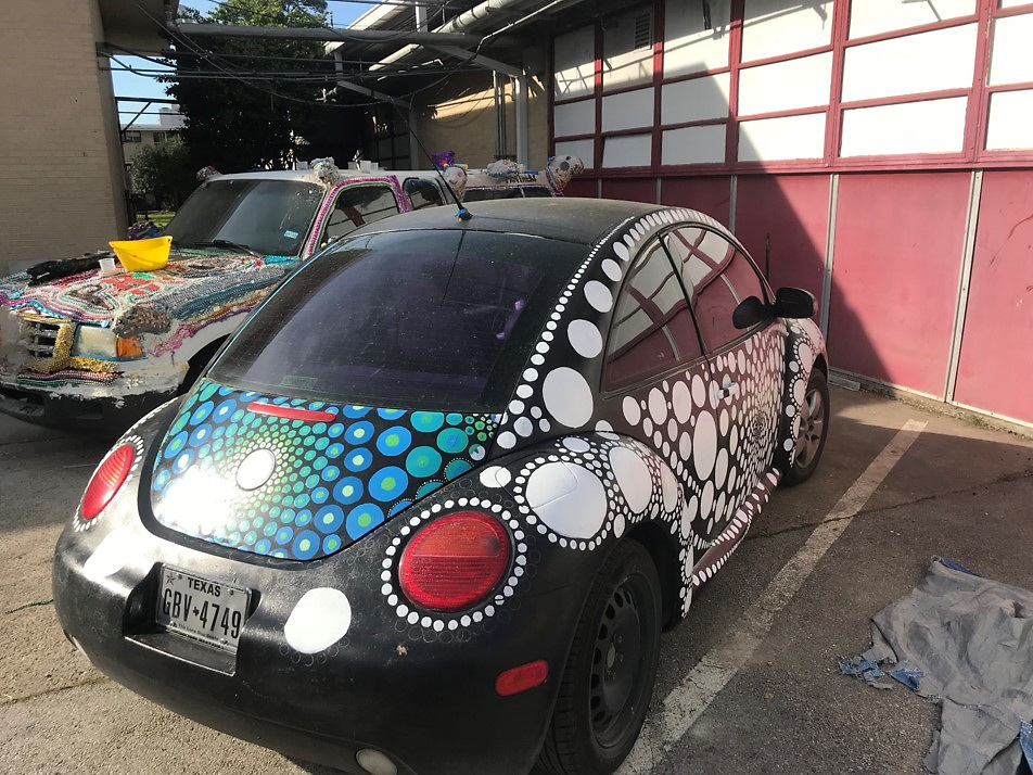 One of Black Middle School's two art cars.