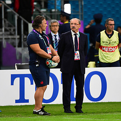 (R-L) France head coach Jacques BRUNEL and France forwards coach Sebastien BRUNO during the Rugby World Cup 2019 Quarter Final match between Wales and France on October 20, 2019 in Oita, Japan. (Photo by Dave Winter/Icon Sport) - Oita Stadium - Oita (Japon)