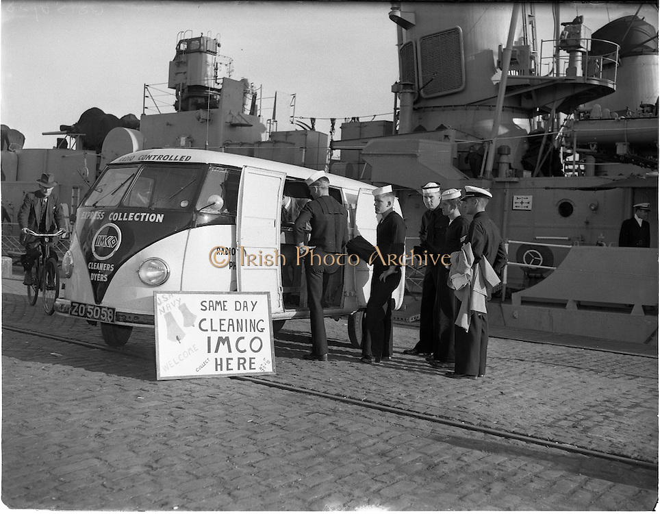 IMCO (Invisible Mending Company) Collection Van visits U.S. Ships.04/08/1956