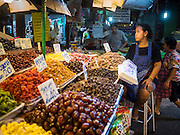 13 MAY 2015 - SAMUT SONGKRAM, SAMUT SONGKRAM, THAILAND:  A fruit vendor in the market in Samut Songkram, Thailand.       PHOTO BY JACK KURTZ