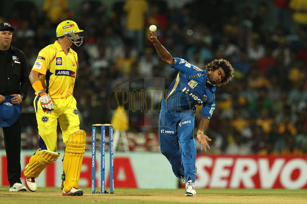 Michael Hussey looks on as Lasith Malinga bowls during match 3 of the NOKIA Champions League T20 ( CLT20 )between the Chennai Superkings and the Mumbai Indians held at the M. A. Chidambaram Stadium in Chennai , Tamil Nadu, India on the 24th September 2011..Photo by Ron Gaunt/BCCI/SPORTZPICS