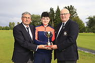 Dave Ward Captain Ballinasloe Golf club and Michael Heeney Connacht Golf presents Lucas Lyons (Limerick) winner of the Connacht U14 Boys Amateur Open, Ballinasloe Golf Club, Ballinasloe, Galway,  Ireland. 10/07/2019<br /> Picture: Golffile   Fran Caffrey<br /> <br /> <br /> All photo usage must carry mandatory copyright credit (© Golffile   Fran Caffrey)